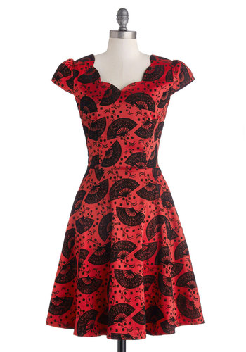 Feeling Fan-ciful Dress - Red, Black, Print, Belted, Cocktail, A-line, Cap Sleeves, Scallops, Long, Knit
