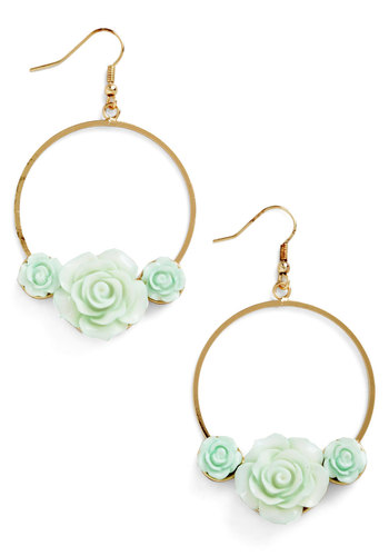 Retro Rosie Earrings in Hoops - Mint, Gold, Solid, Flower, Fairytale, Pastel, Gold