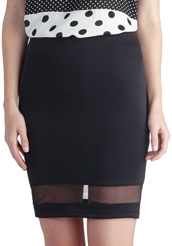 DJ Glamour Skirt - Sheer, Knit, Short, Black, Solid, Party, Girls Night Out, Pencil, Good, Black