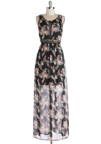 Arrangement Party Dress - Black, Pink, Tan / Cream, Floral, Lace, Daytime Party, Maxi, Tank top (2 thick straps), Good, Scoop, Long, Chiffon, Sheer, Woven, Multi, Party