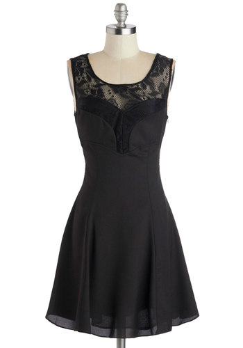 A Drink and Dancing Dress - Sheer, Woven, Short, Black, Solid, Lace, Party, A-line, Tank top (2 thick straps), Good, Scoop, LBD