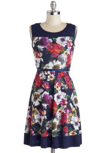 A Successful Season Dress - Blue, Multi, Floral, Party, A-line, Good, Mid-length, Knit