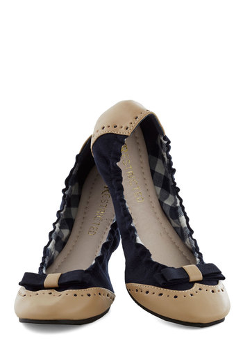 Sunday Morning Scrunch Flat in Navy by Restricted - Blue, Tan / Cream, Bows, Scholastic/Collegiate, Flat, Faux Leather, Woven, Better, Solid, Variation