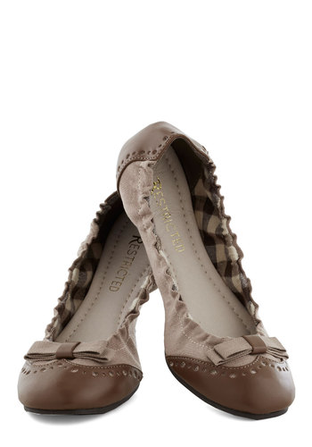 Sunday Morning Scrunch Flat in Khaki by Restricted - Tan, Brown, Bows, Scholastic/Collegiate, Flat, Faux Leather, Woven, Good, Variation