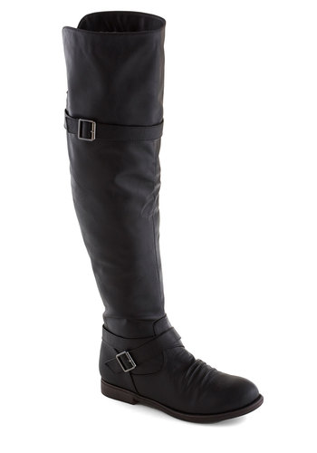Chat Over Croissants Boot in Black - Black, Solid, Buckles, Flat, Good, Casual, Fall, Faux Leather, Over the Knee, Variation