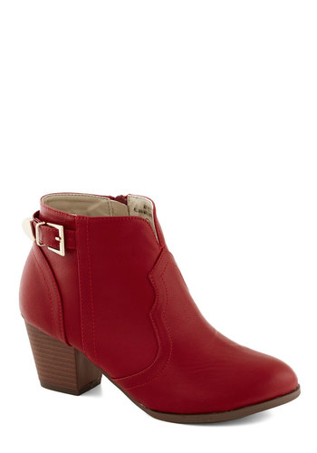 Garage Band Together Bootie in Red - Red, Solid, Buckles, Mid, Chunky heel, Faux Leather, Good, Variation, 60s, Top Rated