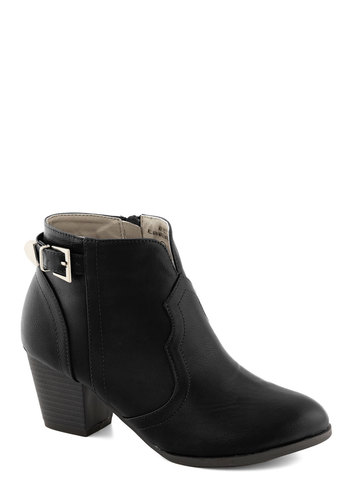 Garage Band Together Bootie in Black - Black, Solid, Buckles, Mid, Chunky heel, Faux Leather, Good, Minimal, Variation, Basic