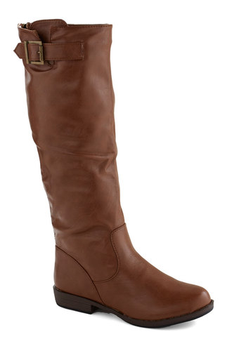 Off To Ireland Boot in Chestnut - Brown, Solid, Buckles, Casual, Safari, Rustic, Fall, Low, Faux Leather, Good, Faux Fur, Minimal, Variation