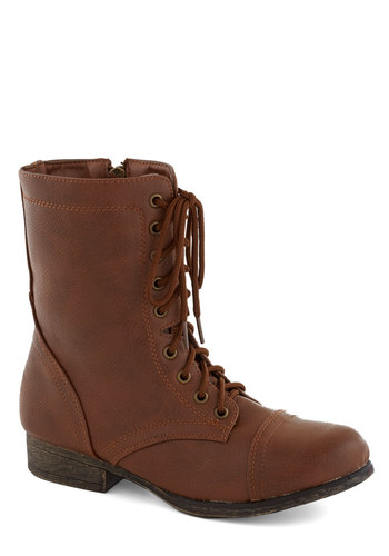 Path and Present Boot in Chestnut - Solid, Steampunk, Faux Leather, Lace Up, Low, Good, Brown, Casual, Variation