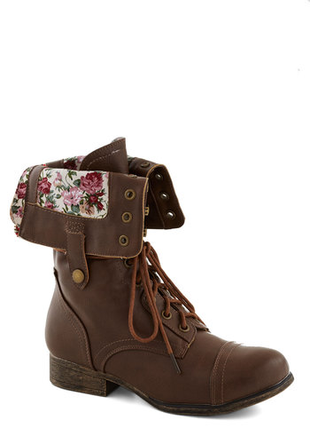 Fold Favorite Boot - Multi, Floral, Lace Up, Low, Faux Leather, Good, Brown, Solid, Casual, Rustic, Variation, Folk Art
