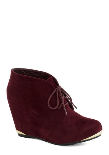 Boutique Opening Bootie in Wine - Red, Solid, Luxe, Platform, Wedge, Lace Up, Mid, Good