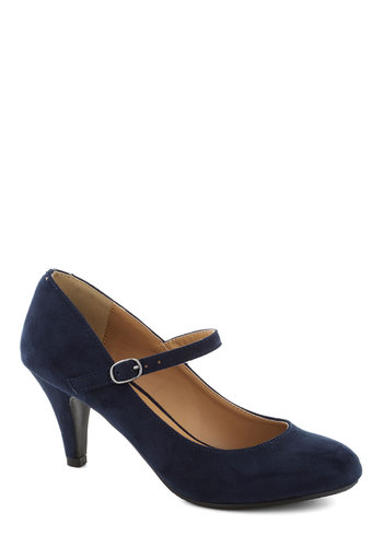 Talk of the Office Heel in Blueberry - Blue, Solid, Work, Mid, Good, Minimal, Faux Leather, Mary Jane, Variation, Basic