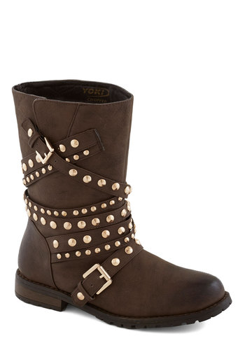 The Forest's Edge Boot - Brown, Buckles, Studs, Statement, Low, Better, Faux Leather, Fall