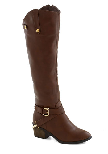 Fall Foal-iage Boot in Brown - Brown, Solid, Buckles, Mid, Better, Chunky heel, Faux Leather, Fall