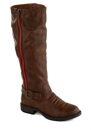 A Sharp Look Boot - Brown, Buckles, Low, Good, Faux Leather, Solid, Exposed zipper, Fall