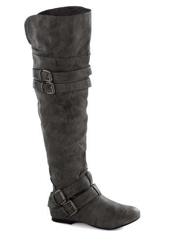 Good to Grey Boot - Grey, Buckles, Flat, Good, Solid, Fall
