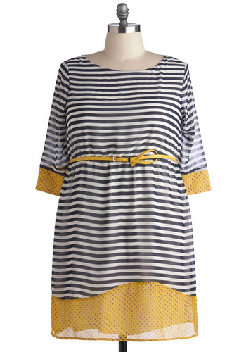 Poppyseed of Color Dress in Plus Size - Multi, Yellow, Blue, White, Polka Dots, Stripes, Buttons, Belted, Work, Casual, Nautical, 3/4 Sleeve