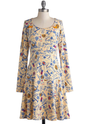 Advertise Your Style Dress by Blutsgeschwister - Mid-length, Cotton, Knit, Yellow, Blue, Novelty Print, Casual, A-line, Long Sleeve, Better, Scoop