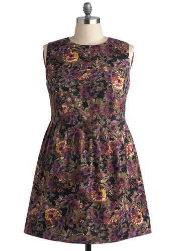 Botanical Delivery Dress in Plus Size by BB Dakota - Cotton, Woven, Multi, Floral, Party, A-line, Sleeveless, Better, Crew, Purple, Black, Daytime Party