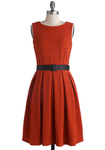 Coffee Shop Cutie Dress - Knit, Orange, Black, Stripes, Belted, Casual, A-line, Good, Scoop, Work, Sleeveless, Exclusives, Fall, Halloween, Show On Featured Sale, Mid-length