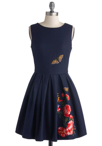 Garden Dreaming Dress - Mid-length, Blue, Multi, Buttons, Embroidery, Pleats, Party, A-line, Sleeveless, Better, Daytime Party