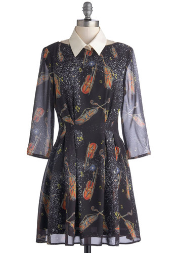 Few of My Favorite Strings Dress by Nishe - Exclusives, Mid-length, Chiffon, Sheer, Woven, Black, Multi, Novelty Print, Party, A-line, Long Sleeve, Better, International Designer, Collared