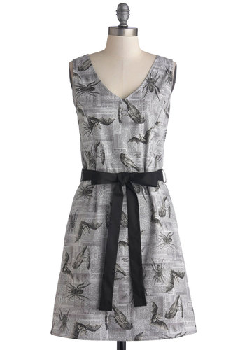 Nocturnal or Nothing Dress - Grey, Black, White, Novelty Print, Belted, Casual, Quirky, A-line, Sleeveless, V Neck, Mid-length, Cotton, Woven, Print with Animals, Pockets, Scholastic/Collegiate, Halloween