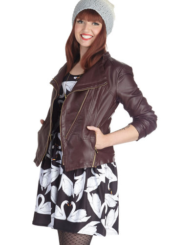 See You Maroon Jacket - 2, Red, Solid, Long Sleeve, Pockets, Faux Leather, Good, Exposed zipper, Mid-length, Red