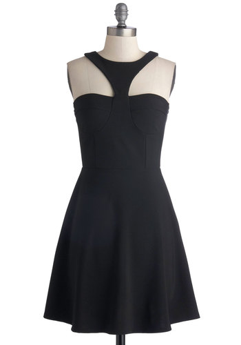 Red Ropes Entrance Dress - Black, Solid, Party, A-line, Good, Mid-length, Knit, Cocktail, Sleeveless, LBD