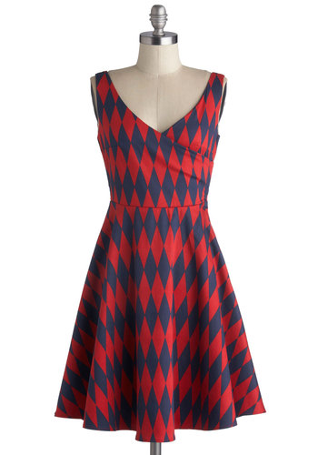 Family Geometry Dress - Red, Blue, Argyle, Casual, A-line, Tank top (2 thick straps), Good, V Neck, Woven, Show On Featured Sale, Mid-length