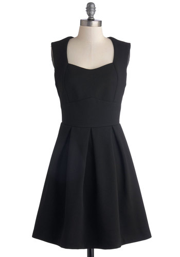 Midnight Masquerade Dress - Black, Solid, Pleats, Party, Minimal, A-line, Sleeveless, Good, Sweetheart, Mid-length, Knit, LBD