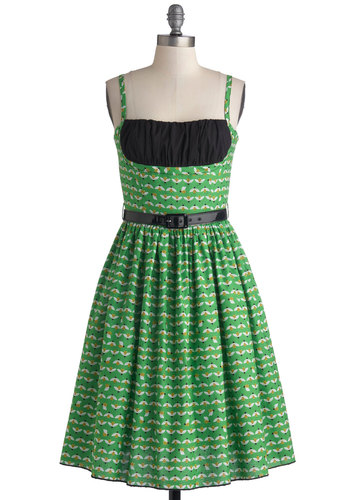 Yours Always Dress in Bumblebee by Bernie Dexter - Long, Cotton, Woven, Green, Black, Print with Animals, Pockets, Belted, Ruching, Spaghetti Straps, Better, White, Daytime Party, Fit & Flare