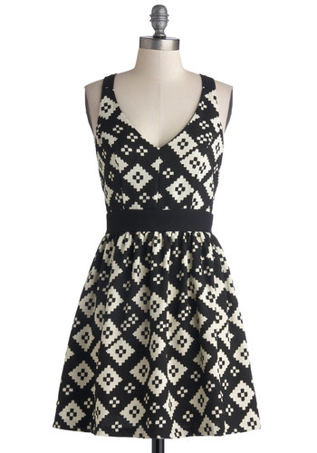 Take Me Out in Tucson Dress - Black, White, Print, Party, A-line, Tank top (2 thick straps), Good, V Neck, Mid-length, Woven, Backless, Girls Night Out