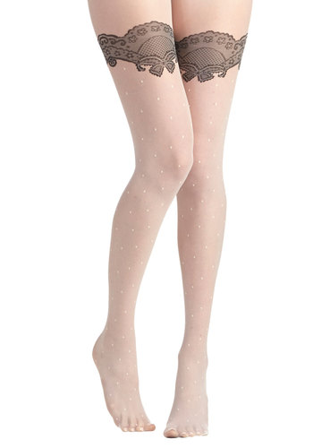 Fan Flair Tights in White - White, Black, Polka Dots, Print, Special Occasion, Bride, Good, Variation, Party, Girls Night Out, Vintage Inspired, 20s, 30s, Sheer, Knit, Work, Holiday Party