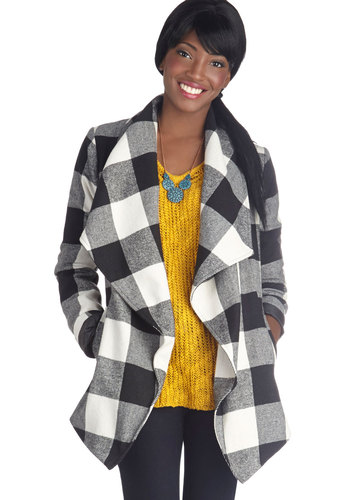 State of the Art Show Jacket by Jack by BB Dakota - Multi, Checkered / Gingham, Belted, Casual, Long Sleeve, 2, Mid-length, Fall, Plaid, Multi, Top Rated