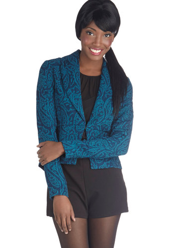Blueberry Nice to Meet You Blazer by Jack by BB Dakota - Blue, Paisley, Work, Long Sleeve, Short, Fall, Blue