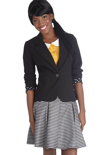 World's Best-Dressed Boss Blazer - Short, 1, Black, Solid, Buttons, Work, Long Sleeve, Pockets, Menswear Inspired