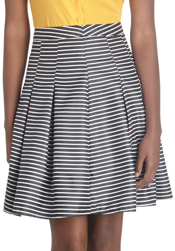 In the Nick of Timeless Skirt - Black, Stripes, Better, Mid-length, Woven, Pleats, Party, Work, Daytime Party, A-line, Black
