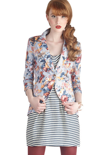 Fine and Sandy Blazer in Floral - Mid-length, Knit, Red, Yellow, Blue, Floral, Work, Long Sleeve, 1, Multi, Pockets, Daytime Party, Variation, Multi