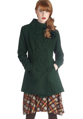 Fir-ever and a Day Coat - Long, Green, Solid, Buttons, Flower, Pockets, Double Breasted, Long Sleeve, Winter, 4, Green