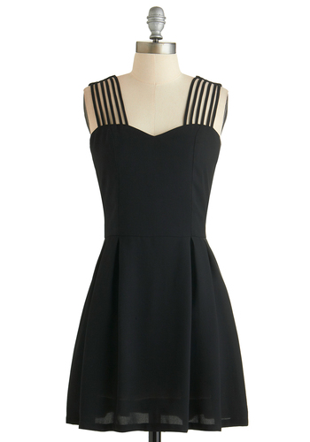 Harp Solo Dress - Short, Woven, Black, Solid, Exposed zipper, Girls Night Out, Tank top (2 thick straps), Exclusives, Sweetheart, LBD