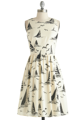 Byron Bay Beautiful Dress - Mid-length, Cotton, Woven, White, Black, Novelty Print, Casual, Nautical, A-line, Sleeveless, Better, Scoop, Exclusives