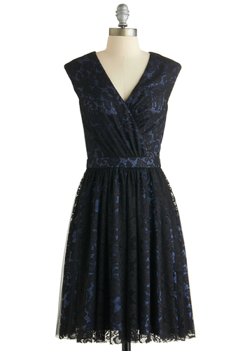 Lovely All Evening Dress - Black, Blue, Lace, Cocktail, A-line, V Neck, Cap Sleeves, Better, Exclusives, Mid-length, Woven