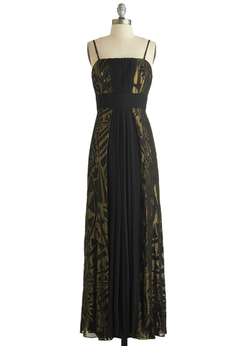 Grand Staircase Descent Dress - Black, Gold, Print, Formal, Prom, Holiday Party, Empire, Maxi, Better, Exclusives, Long, Woven, Pleats