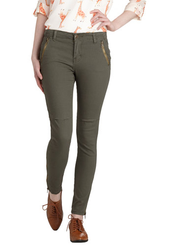 Take the Day Train Pants in Olive - Green, Solid, Good, Woven, Denim, Pockets, Casual, Military, Variation, Exposed zipper