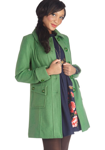 Why 'Ello There! Coat in Green by Tulle Clothing - Green, Solid, Buttons, Pockets, Long Sleeve, Collared, Winter, 3, Green, Long