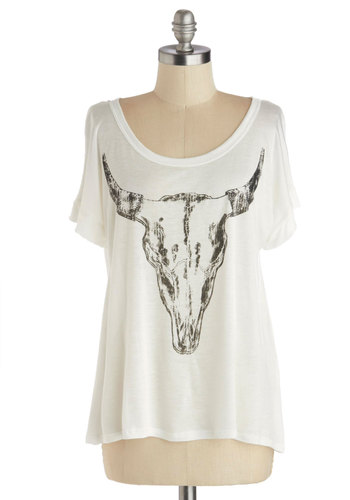 Steer to My Heart Tee - White, Black, Novelty Print, Short Sleeves, Good, Mid-length, Jersey, Knit, Rustic, Scoop, White, Short Sleeve, Festival, Spring, Summer, Boho