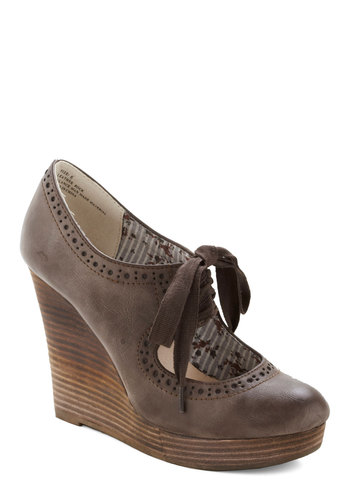 While You Wait Wedge in Cocoa by Restricted - Brown, Platform, Wedge, Lace Up, High, Faux Leather, Better, Solid, Cutout, Work, Vintage Inspired, Scholastic/Collegiate, Variation, Top Rated
