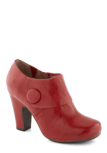 Lovable as Lychee Bootie by Miz Mooz - Red, Solid, Buttons, Vintage Inspired, 60s, Mod, Mid, Leather, Best, Work