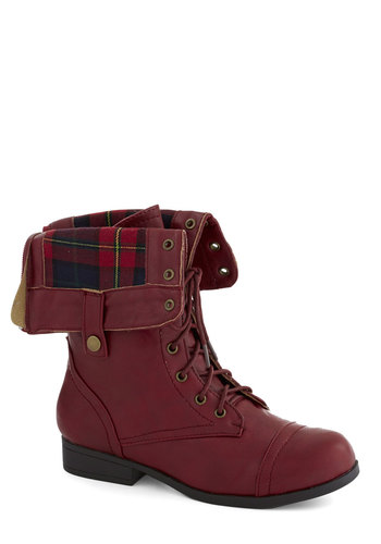 Just Trekkin' In Boot in Burgundy - Red, Plaid, Vintage Inspired, 90s, Good, Lace Up, Low, Faux Leather, Solid, Casual, Fall, Variation, Winter